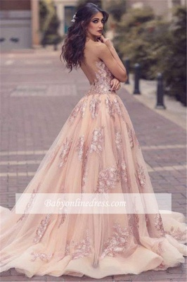 Slit V-neck Tulle Overskirt Pink Appliques Lace Amazing Front Evening Dress_3
