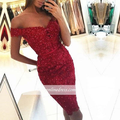 Beadings Short Sheath Red Off-the-Shoulder Sexy Appliques Homecoming Dress_1