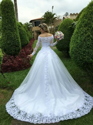 Long-Sleeve Princess Button Lace Zipper Wedding Dresses_3