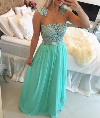 Mint Green Lace Pearls Chiffon Prom Dresses Sheer Neck Capped Sleeves Long Evening Gowns_2