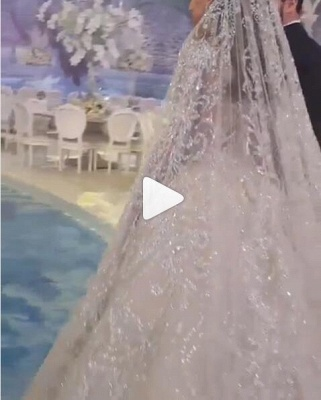 Crystal Ball Gown Wedding Dresses | Beaded Bridal Gowns with Sleeves_4