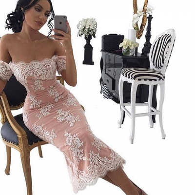 Sexy Off-the-shoulder Lace Prom dress Tea Length Sheath Eveing Gowns_4