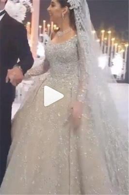Crystal Ball Gown Wedding Dresses | Beaded Bridal Gowns with Sleeves_1