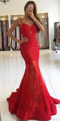 Gorgeous Lace Prom Dresses  Keyhole Sheath Sheer Appliques Evening Dresses_2