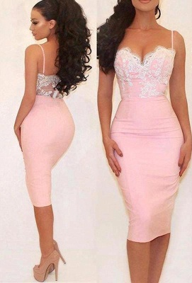 Glamorous Pink Mermaid Party Dress Spaghetti Straps Lace Prom Dress_2