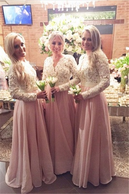 New Arrival Long Sleeves Lace Bridesmaid Dresses V-Neck Beaded Prom Dresses_1
