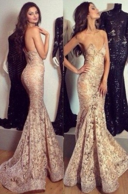 Alluring Mermaid Sweetheart-Neck Prom Dress Champagne Lace Evening Gowns_2