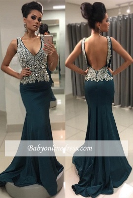 Sexy V-Neck Mermaid Crystal Backless Sleeveless Prom Dress_3