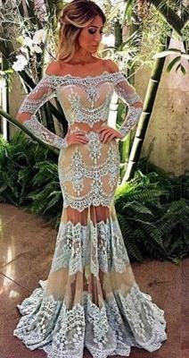 2018 Off-Shoulder Long Sleeve Sheer-Skirt Mermaid Lace Prom Dress BA4074_3
