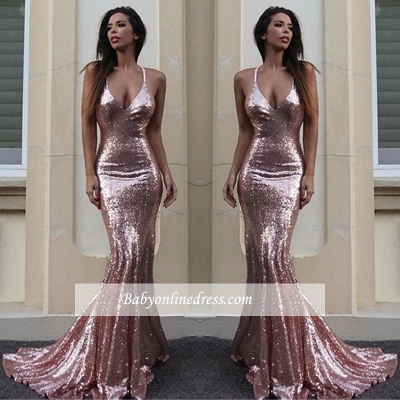 Sequins V-Neck Mermaid Sequins Gorgeous Prom Dress_1