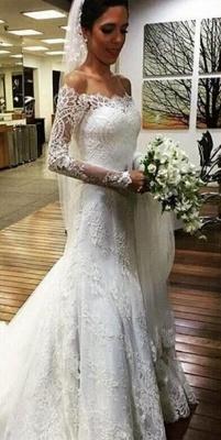Elegant Off the Shoulder Mermaid Lace Beach Wedding Dresses with Sleeves_1