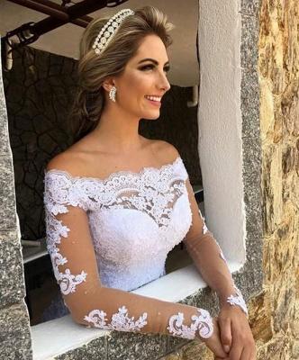 Long-Sleeve Princess Button Lace Zipper Wedding Dresses_4
