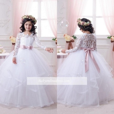 New Arrival Ball Gown Lace-Appliques Long-Sleeves Flower-Girl-Dresses_1