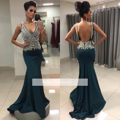 Sexy V-Neck Mermaid Crystal Backless Sleeveless Prom Dress_1