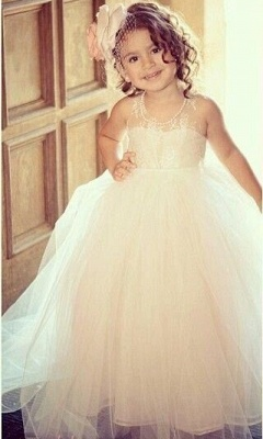 Flower Girl's Dresses Lace Tulle Pearls Beaded with Bow Girl's Formal Dresses_1