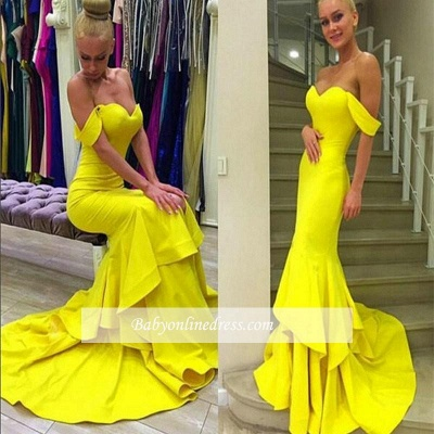 Sexy Off-the-Shoulder Mermaid Prom Dress 2018 Sweep-Train Tiered Evening Gowns_3