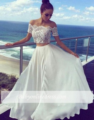 Long Two-pieces White Lace Off-the-shoulder Evening Dress_1