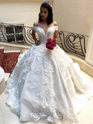 Off the Shoulder Gorgeous Lace Ball Gown Wedding Dresses_3