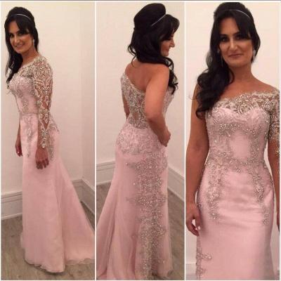 A-line One-shoulder Floor-length Chiffon Beading Appliques Prom Dresses_3