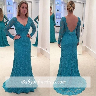 New Arrival Lace Long-Sleeves Mermaid Prom Dresses V-Neck Open-Back Evening Gowns_1