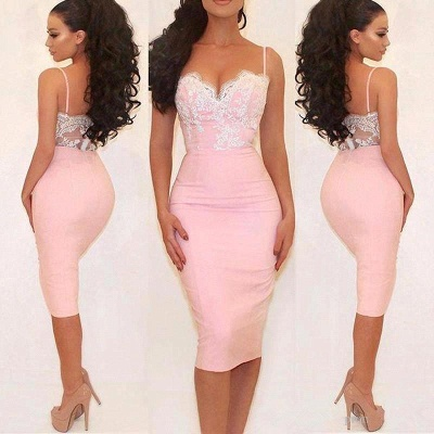 Glamorous Pink Mermaid Party Dress Spaghetti Straps Lace Prom Dress_3