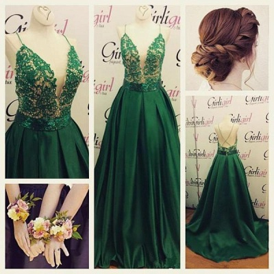 Green Long Evening Gowns Spaghettis Straps Lace Top Elegant Prom Dresses_3