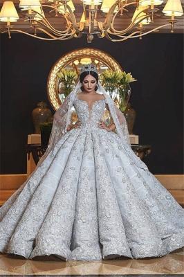 Sweetheart Neckline Princess Ball Gown Wedding Dresses_1