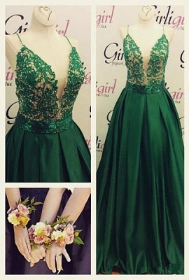 Green Long Evening Gowns Spaghettis Straps Lace Top Elegant Prom Dresses_1