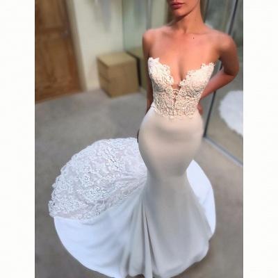 Simple Appliques Mermaid Wedding Dresses   Sleeveless Long Court Train Bridal Gowns_3