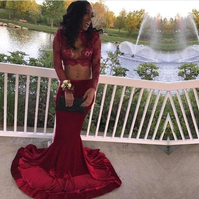 Sexy Two-Piece Prom Dresses | Long Sleeves Mermaid Evening Gowns_3