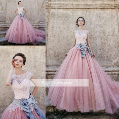 Pink Lace Capped Sleeves Bridal Gowns Ball-Gown Wedding Dress with Bowknot_1