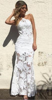 Elegant Halter Ankle-length Lace Appliques Mermaid Wedding Dresses_1