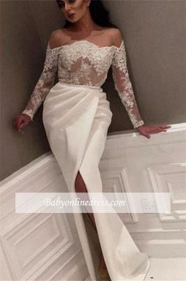 White Off-the-Shoulder Side-Slit Evening Gowns_3
