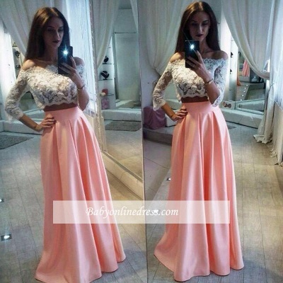 Two-Pieces Elegant Lace Off-the-Shoulder A-Line Pink Prom Dress_1