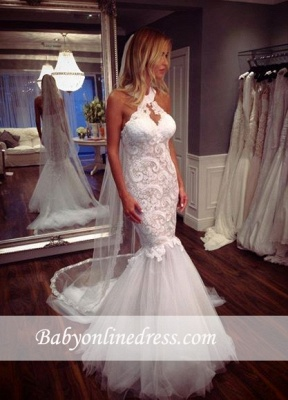 Tulle Sleeveless Halter Lace Elegant Mermaid Wedding Dress_1