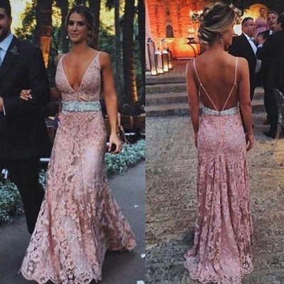 Sexy Zipper Lace Tulle Pink Long V-Neck Prom Dress with Beadings_2
