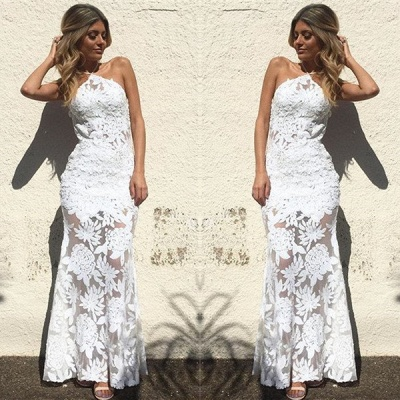 Elegant Halter Ankle-length Lace Appliques Mermaid Wedding Dresses_3