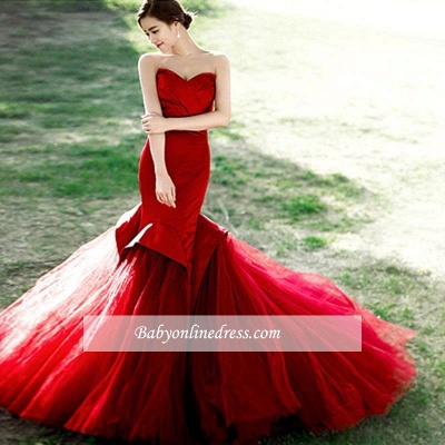 Alluring Red Mermaid Sweetheart Prom Dress Lace-Up Evening Dress_1