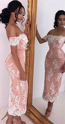 Sexy Off-the-shoulder Lace Prom dress Tea Length Sheath Eveing Gowns_2