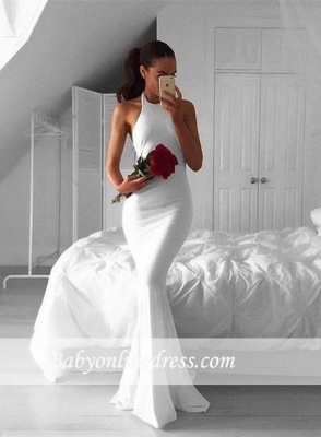Sexy White Mermaid Halter Evening Gowns 2018 Sleeveless Sweep-Train Prom Dress_1