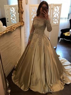 A-Line Evening Dresses Bateau Neck Long Sleeves Lace Appliques Prom Dresses_2
