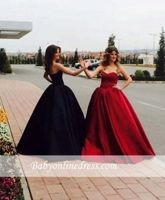 Ball-Gown Simple Sleeveless Sweetheart Glamorous Prom Dresses_1