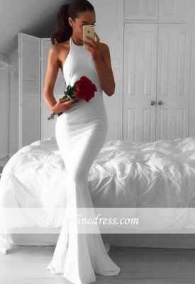 Sexy White Mermaid Halter Evening Gowns 2018 Sleeveless Sweep-Train Prom Dress_3