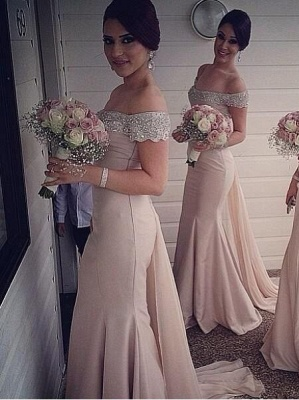 Sexy Off-the-Shoulder Mermaid Bridesmaid Dresses Sweep Train Beaded Party Dresses_2