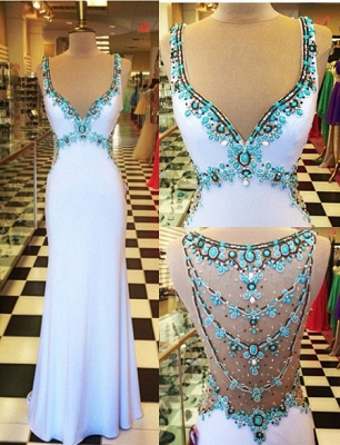 White Long Prom Dresses with Turquoise Blue Crystals Straps Formal Evening Gowns_5