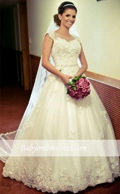 Princess Tulle Appliques Ball Cap-Sleeve Lace Gown Jewel Wedding Dress with Crystal-Belt_1