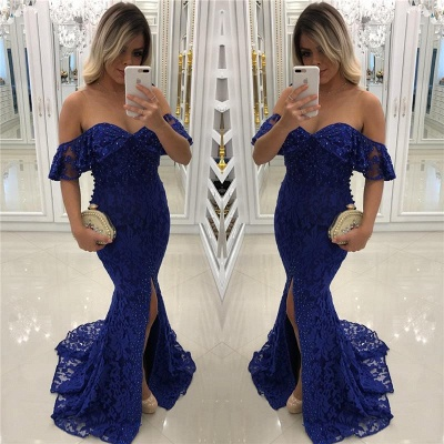 Sweetheart Off-shoulder Floor-length Split Pearls Lace Mermaid Prom Dresses_3