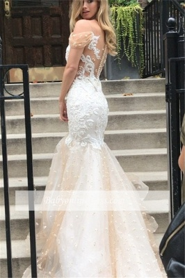 Newest Mermaid Appliques Off-the-Shoulder Tulle Wedding Dress_1