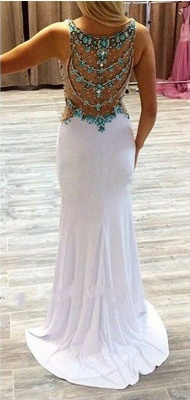 White Long Prom Dresses with Turquoise Blue Crystals Straps Formal Evening Gowns_3