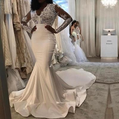 Elegant Long Sleeves Wedding Dresses | V-Neck Lace Mermaid Bridal Gowns_3